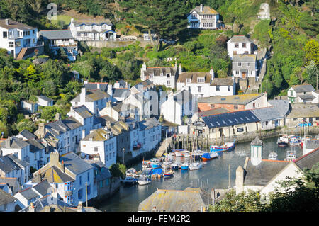 Elevated view over Polperro harbour, Cornwall, England, UK - Stock Photo