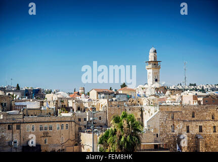 mosques in old town of jerusalem israel - Stock Photo