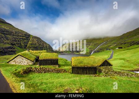 Village of Saksun located on the island of Streymoy, Faroe Islands, Denmark - Stock Photo