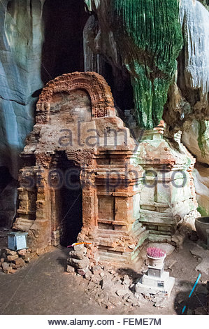 The Funan era Hindu cave temple at Phnom Chhnork in the countryside near Kampot, Cambodia - Stock Photo