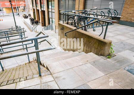 OSLO, NORWAY - JULY 31, 2014: Parked Bicycle On Sidewalk - Stock Photo