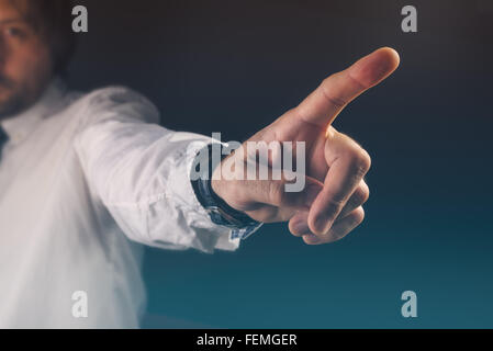 You are fired concept, boss gesturing way out hand sign with index finger - Stock Photo