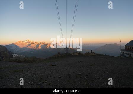 Mount Wildhorn at a summer sunrise seen from the Wildstrubelhütte mountain hut in the Bernese Oberland,Switzerland - Stock Photo