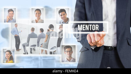 Composite image of businesswoman pointing - Stock Photo