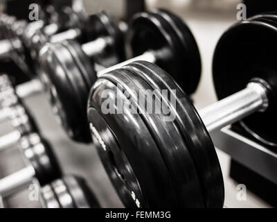Dumbbell weights on a rack at a health club gym - Stock Photo
