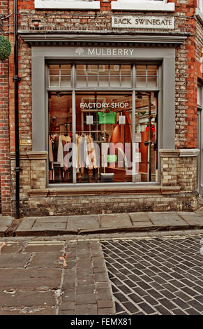 Mulberry Factory Shop, Back Swinegate, York - Stock Photo