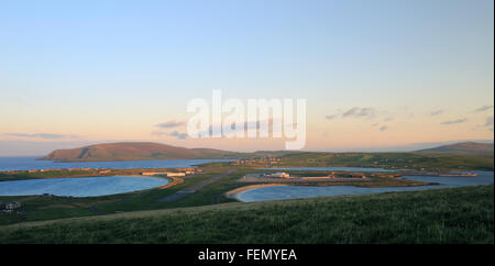 South Mainland with Sumburgh Airport in early morning light, Shetland, Scotland, UK. - Stock Photo