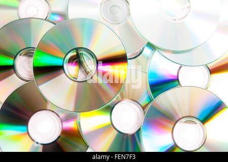Optical storage cds cd pile stack music film films piracy digital data - Stock Photo