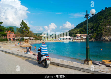 Main beach, Palaiokastritsa, Paleokastritsa, western Corfu, Kerkyra, Ionian islands, Greece - Stock Photo