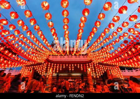The Lanterns of Thean Hou temple during the Chinese New Year, Kuala Lumpur, Malaysia. - Stock Photo