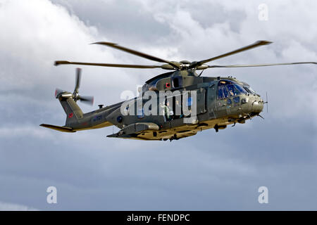 A Royal Air Force AugustaWestland Merlin HC.3 Helicopter, ZJ123, at the RNAS Yeovilton International Air Day, Somerset, - Stock Photo