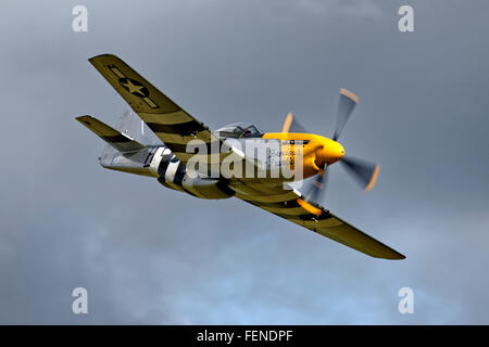 North American P-51D Mustang 'Ferocious Frankie' at the Old Sarum Airshow 12th September 2015, Wiltshire, United - Stock Photo