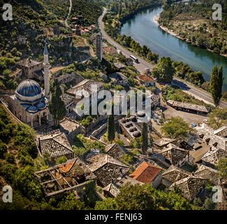 Pocitelj on the river Neretva near Capljina, Bosnia and Herzegovina - Stock Photo