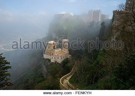 High angle view of Venus castle in mist, Erice, Sicily, Italy - Stock Photo