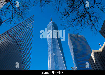 Freedom Tower, One World Trade Centre building, at the site of Grund Zero, lower Manhattan, New York City, USA - Stock Photo