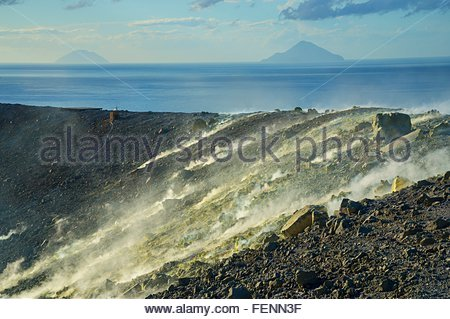 Sulphur and fumaroles smoke on Gran Cratere, Vulcano Island, Aeolian Islands, Sicily, Italy - Stock Photo