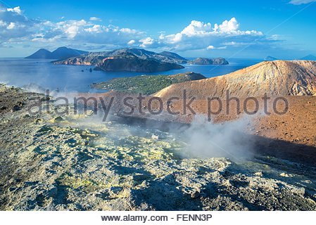 Gran Cratere (The Large Crater) and view of islands Lipari and Salina, Vulcano Island, Aeolian Islands, Sicily, - Stock Photo