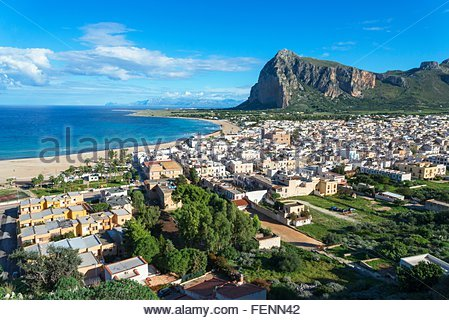 High angle view of San Vito Lo Capo, Sicily, Italy - Stock Photo