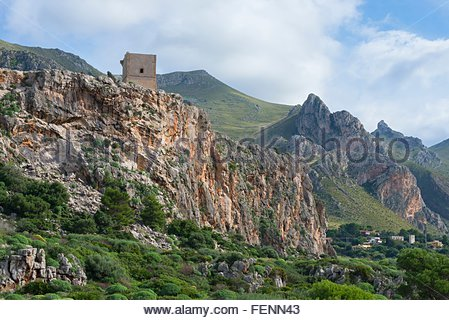 Elevated view of mountain tower, Macari, San Vito Lo Capo, Sicily, Italy - Stock Photo