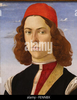 Portrait of a young man, 1475. By Sandro Botticelli (1445-1510). Italian School. Oil on canvas. Louvre Museum. Paris. - Stock Photo