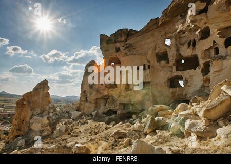 Rock formation dwellings, Cappadocia, Anatolia,Turkey - Stock Photo