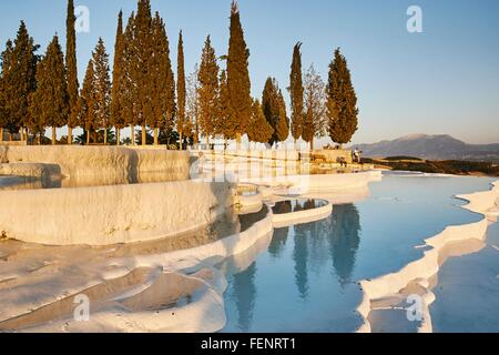 Hot spring terraces, Pamukkale, Anatolia, Turkey - Stock Photo