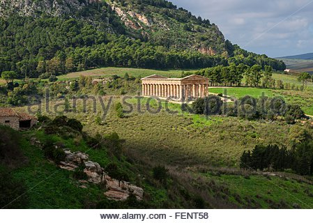Elevated landscape and temple of Segesta, Segesta, Sicily, Italy - Stock Photo
