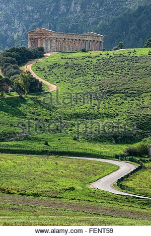 Elevated view of the temple of Segesta, Segesta, Sicily, Italy - Stock Photo
