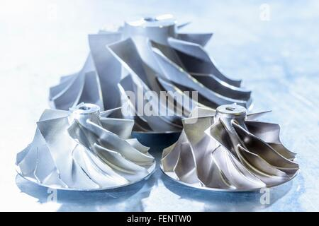 Close up of turbocharger turbines in research facility