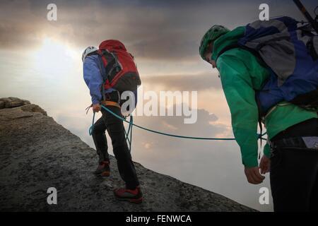 Climbers on mountain ridge, Mont Blanc, France - Stock Photo