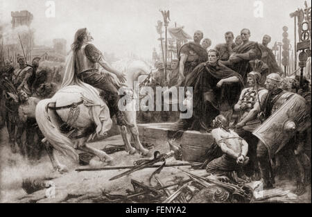 Vercingetorix throws down his arms at the feet of Julius Caesar, 52 BC.  After this he was imprisoned in the Tullianum - Stock Photo