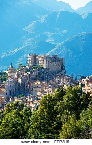 Elevated view of Caccamo castle and mountains, Caccamo, Sicily, Italy - Stock Photo