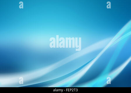 Abstract blue background with soft curves and bright light - Stock Photo