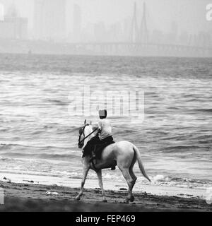 Person Riding Horse On Beach - Stock Photo