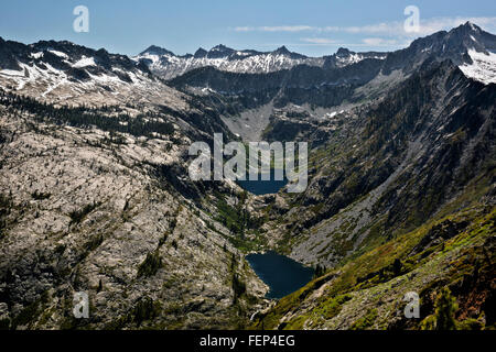 CALIFORNIA - Emerald and Sapphire Lakes in the Stuart Fork Creek Valley from the summit of the Caribou Scramble - Stock Photo