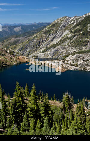 CALIFORNIA - Caribou and Lower Caribou Lakes from the summit of the Caribou Scramble in the Trinity Alps Wilderness. - Stock Photo