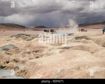 Road trip in the Andes, from San Pedro de Atacam to Uyuni - Stock Photo