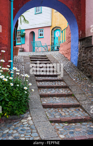 Staircase and buildings in Portmeirion, North Wales, an Italianate model village built by architect Clough Williams - Stock Photo