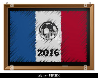 France flag and soccerbal drawn on chalkboard - Stock Photo