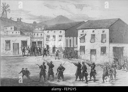 SPAIN Carabiniers resisting the Cartagena insurgents at Aguilas 1873. Illustrated London News - Stock Photo