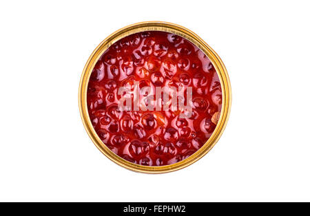 Red salmon caviar in a tin on a white background top view - Stock Photo