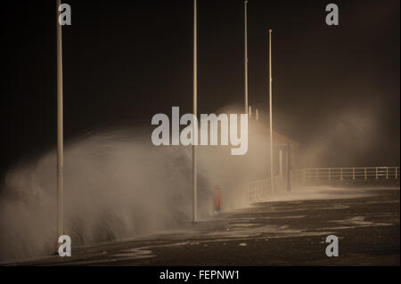 Aberystwyth, Wales, UK. 08th Feb, 2016. UK Weather: Huge waves in Aberystwyth. Credit:  Veteran Photography/Alamy - Stock Photo