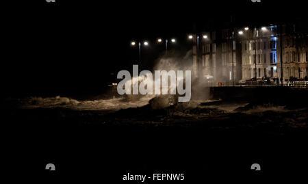 Aberystwyth, Wales, UK. 08th Feb, 2016. UK Weather: Huge waves in Aberystwyth. Credit:  Veteran Photography/Alamy - Stock Photo