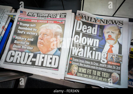 Headlines of the New York tabloid newspapers on Tuesday, February 2, 2016 report on Republican presidential candidate - Stock Photo