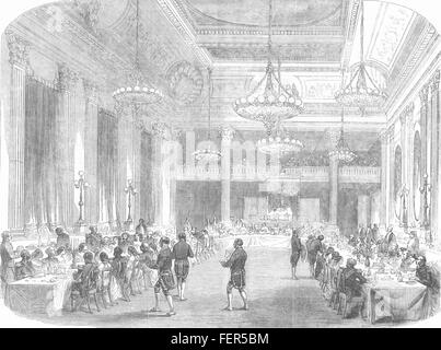 DUBLIN CASTLE Grand banquet to the Knights of St. Patrick. Ireland 1857. Illustrated London News - Stock Photo