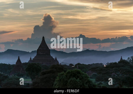 Sunset view from Shwesandaw Pagoda towards the Irrawaddy River, Bagan, Myanmar - Stock Photo