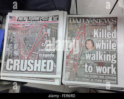 New York Daily News and Post tabloid newspapers on a newsstand on Saturday, February 6, 2016 report on the previous - Stock Photo