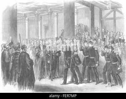 LONDON Reception of the Belgians by the Lord Mayor at Guildhall 1867. Illustrated London News - Stock Photo