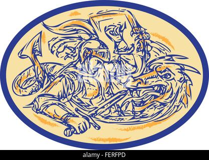 Drawing sketch style illustration of St George fighting dragon set inside oval shape. - Stock Photo