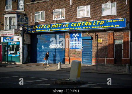 Harringay/ Turnpike Lane garage and street scene, North London UK - Stock Photo